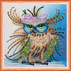 Kralen borduurpakket Owl and Bow - Abris Art
