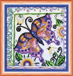 Kralen borduurpakket Butterfly in Flowers - Abris Art