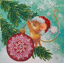 Kralen borduurpakket Decorating Christmas Tree - Abris Art