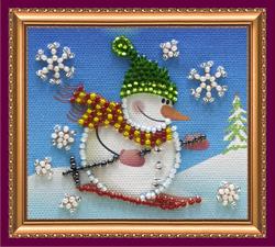Kralen borduurpakket Snowman - 2 - Abris Art