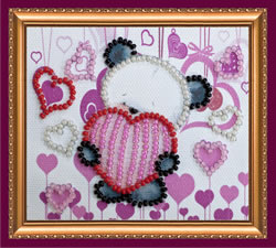 Kralen borduurpakket Bear and Hearts - Abris Art