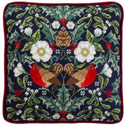 Petit Point borduurpakket Karen Tye Bentley - Winter Robins Tapestry - Bothy Threads