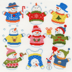 Borduurpakket Slightly Dotty Snowmen - Bothy Threads