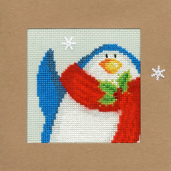 Borduurpakket Christmas Cards - Snowy Penguin - Bothy Threads