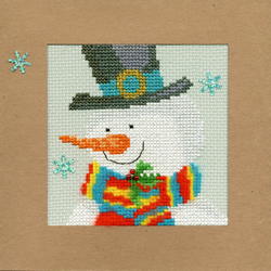 Borduurpakket Christmas Cards - Snowy Man - Bothy Threads