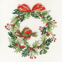 Borduurpakket Robin Wreath - Bothy Threads
