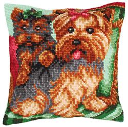Kussen borduurpakket Dogs on the Armchair - Collection d'Art