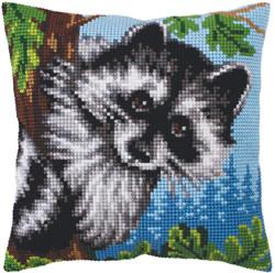 Kussen borduurpakket Little Raccoon - Collection d'Art