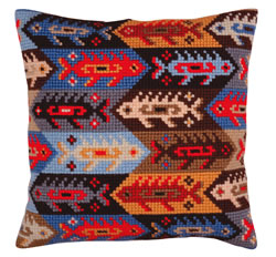 Kussen borduurpakket Ornament - fish - Collection d'Art