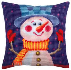 Kussen borduurpakket Cheerful Snowman - Collection d'Art