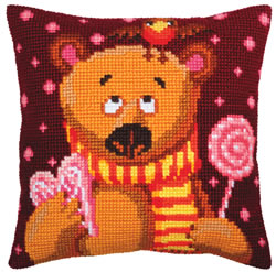 Kussenborduurpakket Candy Teddy - Collection d'Art