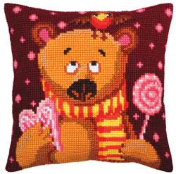 Kussen borduurpakket Candy Teddy - Collection d'Art