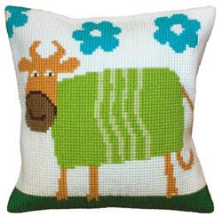 Kussen borduurpakket Cheerful Cow  - Collection d'Art