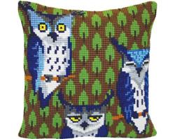 Kussen borduurpakket Owls in the Forest - Collection d'Art