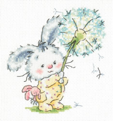 Borduurpakket Bunny and dandelion - Chudo Igla (Magic Needle)