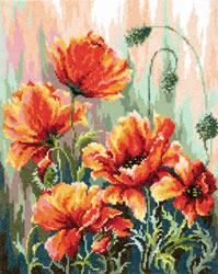 Borduurpakket Poppies in the morning light - Chudo Igla (Magic Needle)