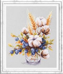 Borduurpakket Blooming Cotton and Blueberry - Chudo Igla