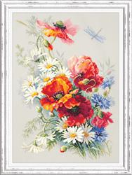 Borduurpakket Poppies and daisies - Chudo Igla (Magic Needle)
