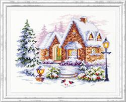 Borduurpakket Winter house - Chudo Igla (Magic Needle)