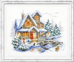 Borduurpakket Winter cottage - Chudo Igla (Magic Needle)