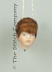 Handgemaakt porceleinen hoofdje klein, donker haar - Emie Bishop