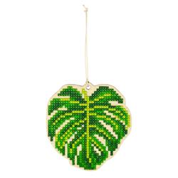 Diamond Painting Wooden Pendant - Green Leaf - Freyja Crystal