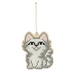 Diamond Painting Wooden Pendant - White Cat - Freyja Crystal