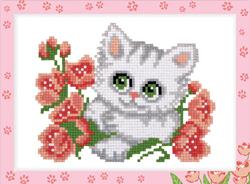 Diamond Painting Kitten with Flowers - Freyja Crystal