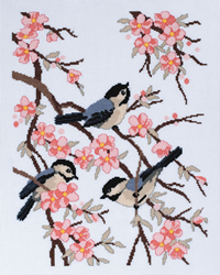 Borduurpakket Chickadees & Apple Blossoms - Janlynn