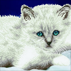 Diamond Art White Cat - Leisure Arts