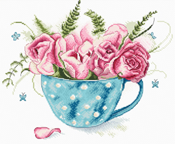 Borduurpakket A cup of Roses - Leti Stitch