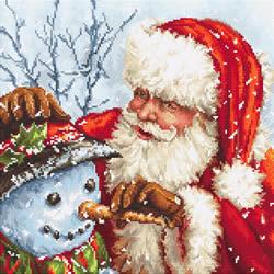 Borduurpakket Santa Claus and Snowman - Leti Stitch