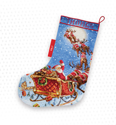 Borduurpakket The Reindeers on it's Way! Stocking - Leti Stitch