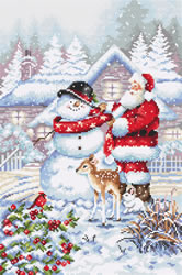 Borduurpakket Snowman and Santa - Leti Stitch