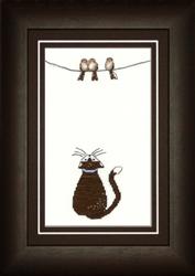 Borduurpakket Katze mit Vögeln - Liebevolle Kreuzstichentwürfe