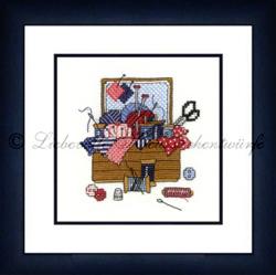 Borduurpakket Nähkästchen (blau-rosé) - Liebevolle Kreuzstichentwürfe