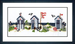 Borduurpakket Strandidylle mit Badehäuschen - Liebevolle Kreuzstichentwürfe