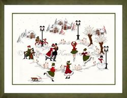 Borduurpakket Winterzeit am Dorfteich (rot-grün) - Liebevolle Kreuzstichentwürfe