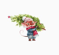 Borduurpakket Mouse with fir tree - Luca-S