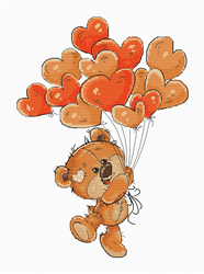 Borduurpakket Teddy Bear Heart Balloons - Luca-S