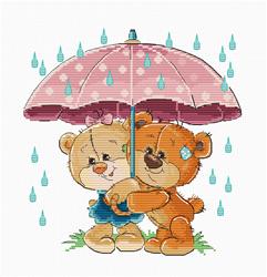 Borduurpakket Teddy Bears Under Umbrella - Luca-S