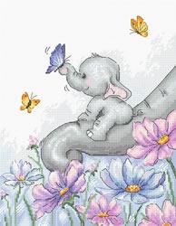 Borduurpakket Elephant with Butterfly - Luca-S