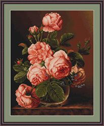 Borduurpakket Vase of roses - Luca-S