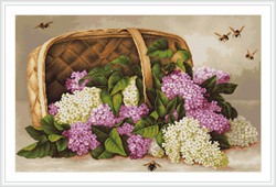 Borduurpakket Basket of lilacs - Luca-S
