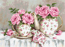 Borduurpakket Morning tea and roses - Lucs-S