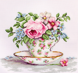 Borduurpakket Blooms in a Tea Cup - Lucs-S