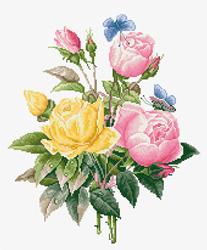 Borduurpakket Yellow Roses And Bengal Roses - Luca-S