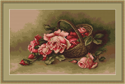 Petit Point Borduurpakket Basket with Flowers - Luca-S