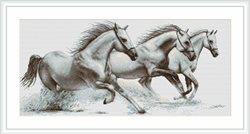Petit Point Borduurpakket White horses - Luca-S