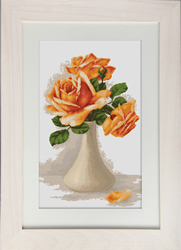Petit Point Borduurpakket Orange Roses in Vase - Luca-S